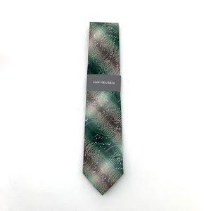 Van Heiden Men's Paisley Green Silk Neck Tie NEW